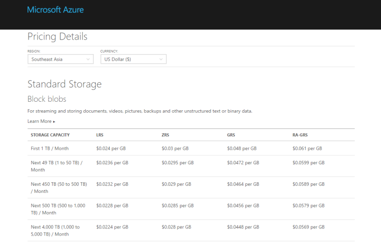 Azure Standard Block Blob Storage in SEA Pricing