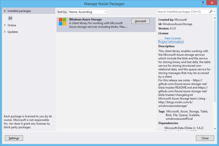 Windows Azure Storage NuGet Package needs to be installed first.