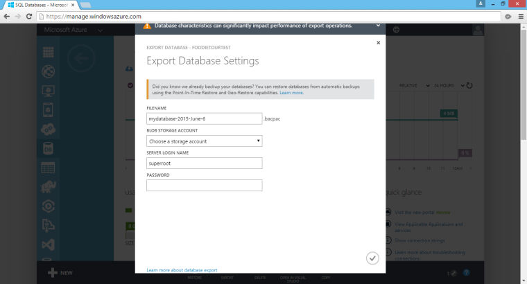 Export DB from Azure SQL Database.
