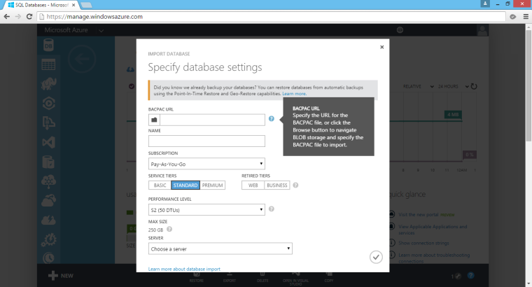 Create a new database in Azure SQL Database by import BACPAC file.