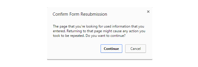 The warning received when pressing F5 right after submitting a form on the page.
