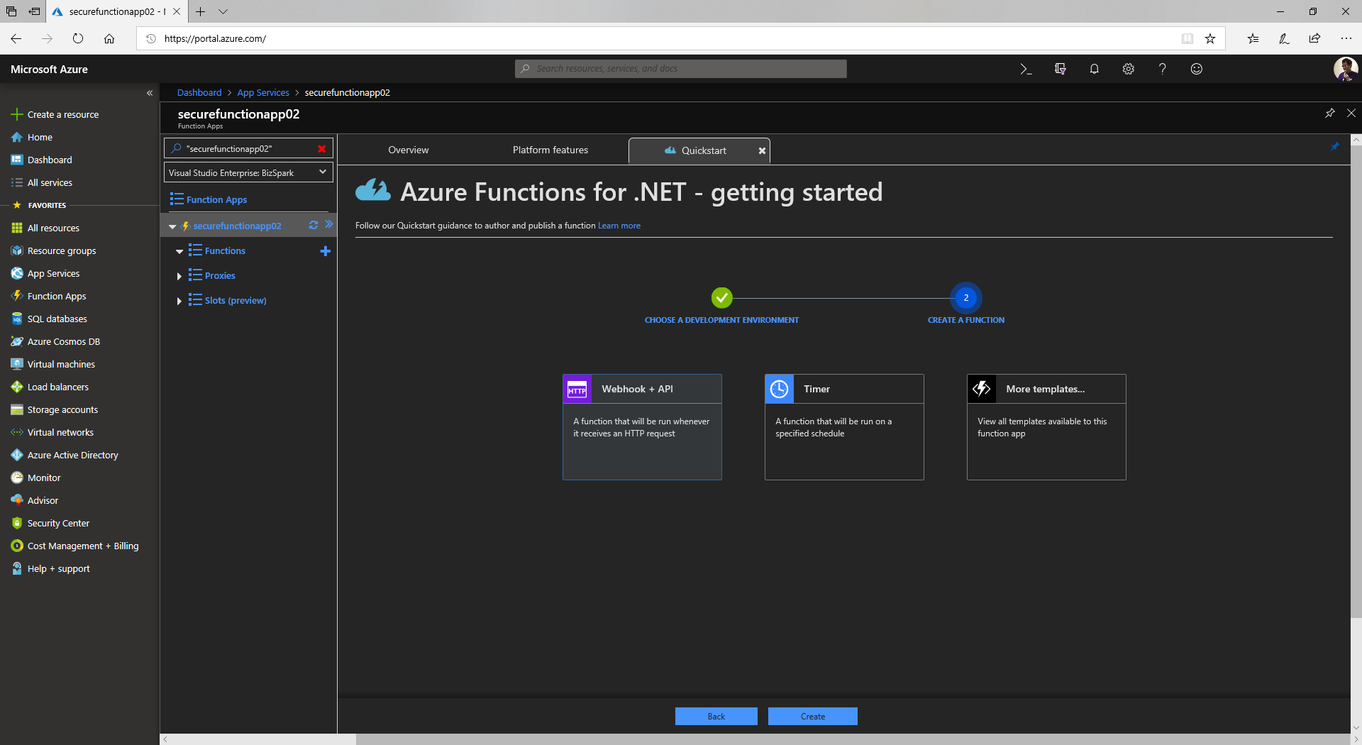 Authenticate an Azure Function with Azure Active Directory
